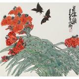 王永刚 三尺斗方《引蝶图》 78岁国家一级美术师