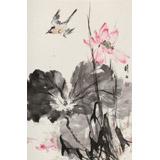 陈薪名《荷风清远》中美协会员 第六届全国花鸟画展金奖获得者