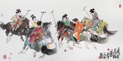 王永刚 四尺《唐女马球图》 78岁国家一级美术