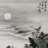 刘金河 四尺三开《月在浮云浅处明》 中美协会员 国家画院画家