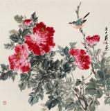 陈薪名《春风富贵》 中美协会员 第六届全国花鸟画展金奖获得者