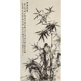 吴显刚 四尺《竹石图》 贵州七星关美协主席