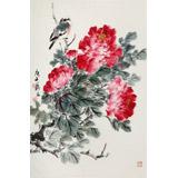 【已售】陈薪名《富贵图》 第六届全国花鸟画展金奖获得者