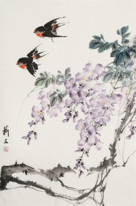 陈薪名《紫气东来》中美协会员 第六届全国花鸟画展金奖获得者