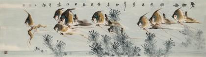 吕俊成 六尺对开《聚财图》 安徽省美术家协会会员