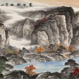 中美协会员 曹来宾 八尺精品山水画《霞映石林苍山醉》