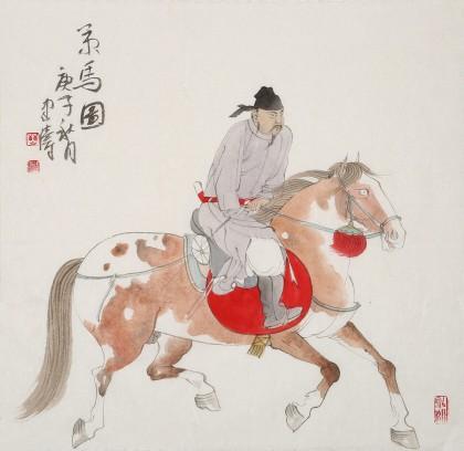 【已售】曹建涛 四尺斗方《策马图》 独具特色水墨人物画家