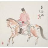 曹建涛 四尺斗方《策马图》 独具特色水墨人物画家