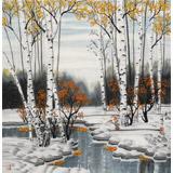 何一鸣 四尺斗方《瑞雪丰年》 冰雪画派画家 师从于志学