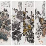 曲逸之 四条屏《春夏秋冬》 河南省著名花鸟画家