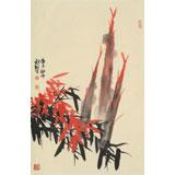 杨劲松 四尺三开《平安图》 贵州省美术家协会会员