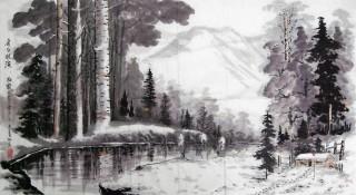 杜霖六尺冰雪画《长白林海》