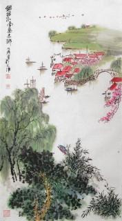 李明成三尺写意山水《江南鱼米乡》