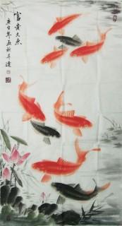 一级美术师周升达《富贵久鱼图》