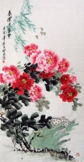 王宝钦四尺牡丹图《春风送富贵》