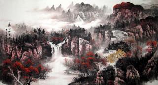 六尺国画山水《泉鸣山更幽》