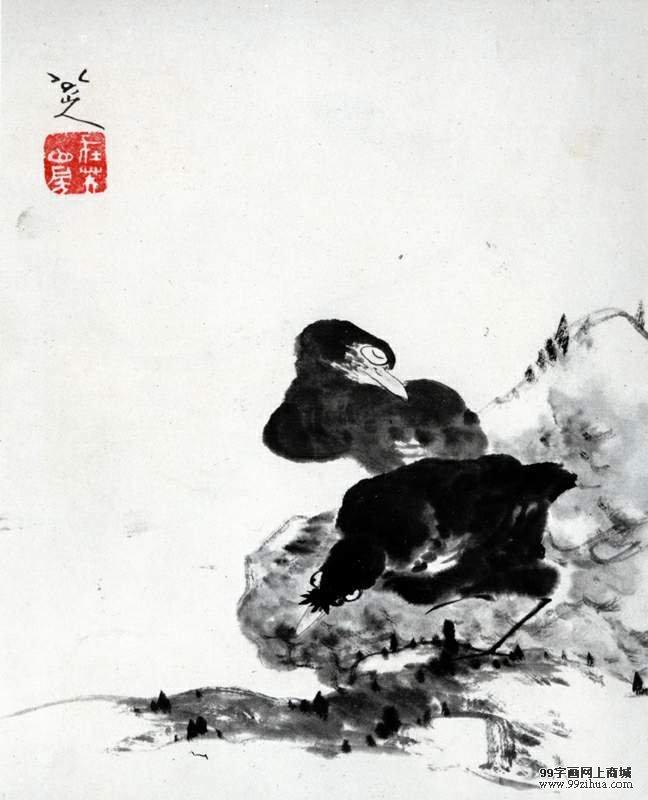 """八大原名朱耷,中国清代(公元 1644—— 公元 1911 年)著名画家,清代早期画坛 """" 四僧 """" 之一,八大山人是他的名号。他出生于公元 1626 年,死于公元 1705 年,是明朝(公元 1368—— 公元 1644 年)皇族后代。 19 岁时国破家亡,心情悲愤的他便装哑扮傻,不和任何人说话, 23 岁出家当了和尚。 八大的身世使他内心非常痛苦,然而他又不能将心情宣泄给外人,于是他将它转化,最终以绘画形式表达自己的内心世界。"""