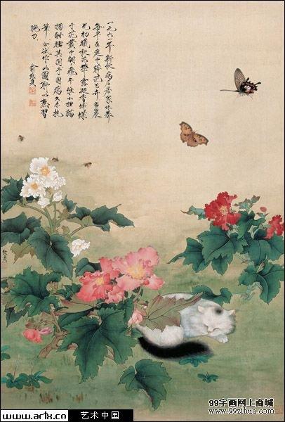 名家国画花鸟欣赏_猫蝶图 俞致贞_99字画网上商城