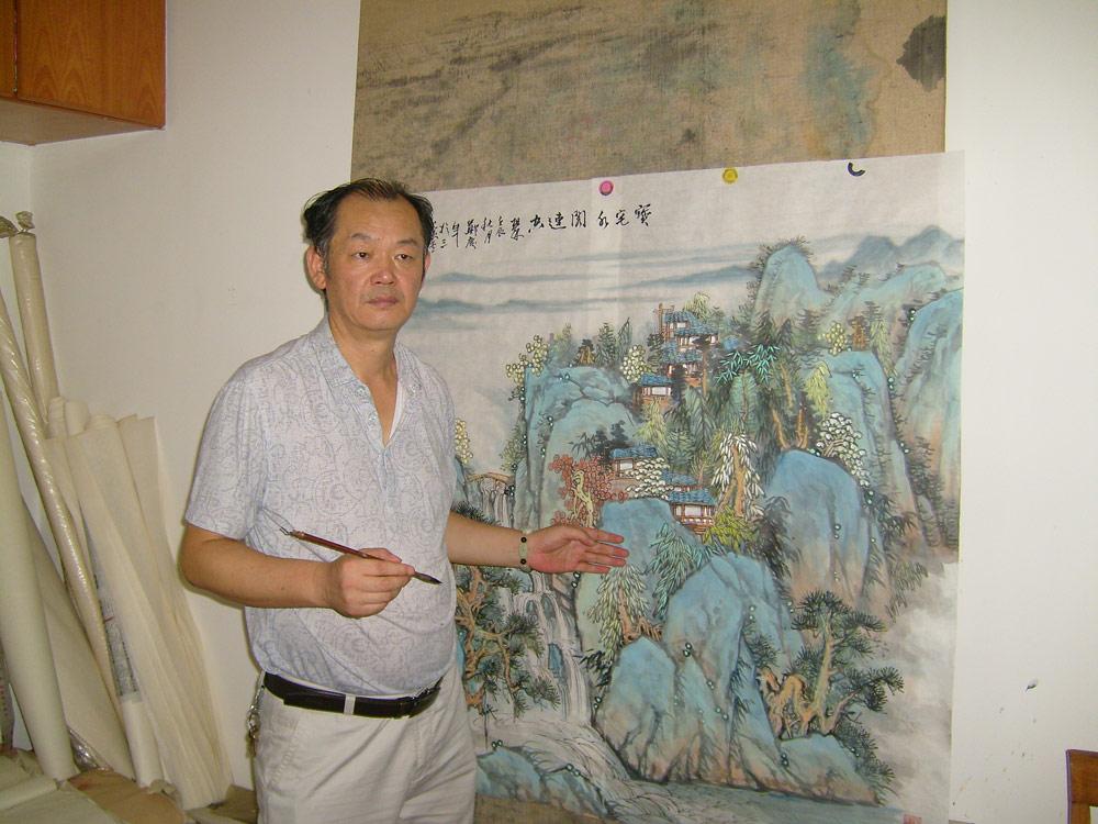郑庆年老师在讲解山水画